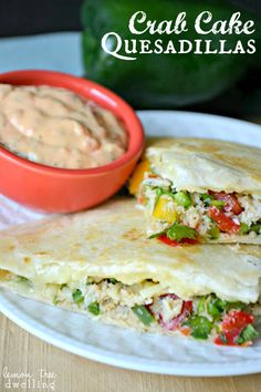 Crab Cake Quesadillas with Red Pepper Aioli via lemontreedwelling.com
