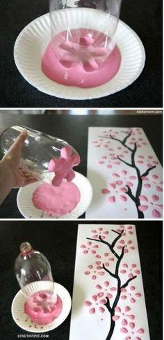 Use Plastic bottle as a sakura flower stencil. Genius!