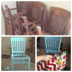 Bought chairs for $8 each at Restore habitat for humanity. They were Bob Evans restaurant chairs. Painted using Behr paint color embellished blue. Fabric for seat covers from hobby lobby.