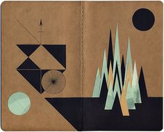 EscapeIntoLife book art by Louis Reith #collage and ink on #Moleskine kraft paper notebook