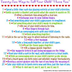 "22 ways to tell your child ""I Love you"""
