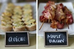Mini foods!  Love it!....I REALLY love the little chalkboards to use to label foods at parties!