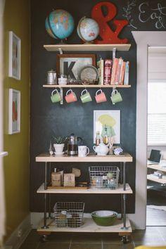 kitchen carts, wall shelving, kitchen shelves ideas, coffee cart