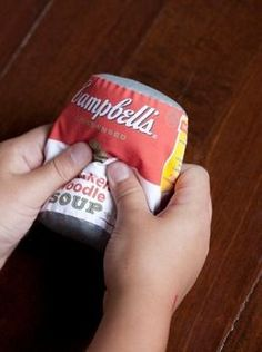 Soft food cans to sew.  Adorable idea for child's play kitchen!