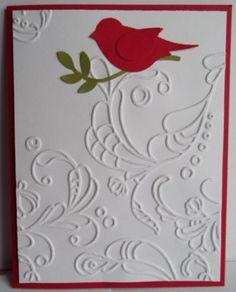 handmad greet, bird, card idea, branch hand, greeting cards, hand made, felt applique, christma, stampin up cards