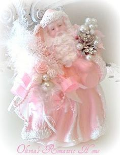 pink santa, sugar plums, pink christmas, romantic homes, shabbi chic, soft pink, shabby chic, shabbi pink, christmas angels