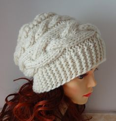 womens slouchy - beanie hat - Slouch Beanie - Large mens hats - chunky hat - Chunky Knit Winter Fall Accessories  Slouchy hat Knit Cable hat. $28.00, via Etsy.