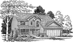 Home Plans HOMEPW01327 - 1,937 Square Feet, 4 Bedroom 2 Bathroom Country Home with 2 Garage Bays