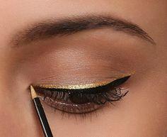 eye makeup, gold liner, gold accent, gold eyelin, beauti, eye liner, hair, black, makeup idea