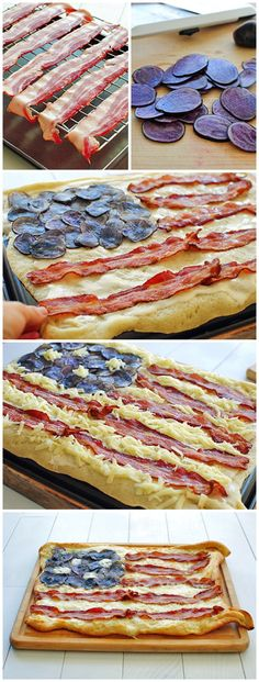 Bacon Flag Pizza with potato for the blue stars