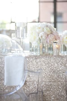 Sequin Table Linen. For the head table or cake table