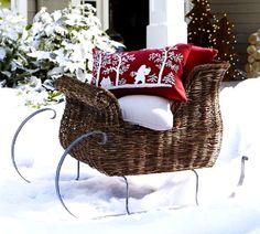 I love this sleigh! Christmas 4U via Tumbler. holiday, wicker, sleigh ride, outdoor christmas decorations, outside decorations, christma decor, front yards, christmas decorating ideas, sled