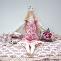 Rag doll Princess and the Pea Handmade fabric by CherryGardenDolls, $70.00