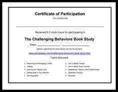 Challenging Behaviors Book Study Certificate