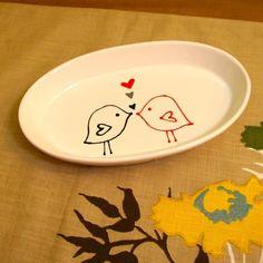 Love Bird Serving Dish / Ceramic Tableware / by CNJceramics, $15.00