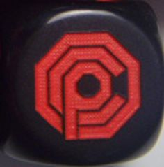 "Robocop Custom Dice!!! Engraved on the ""6"" side with the OCP logo. CatMonkeyGames@aol.com"