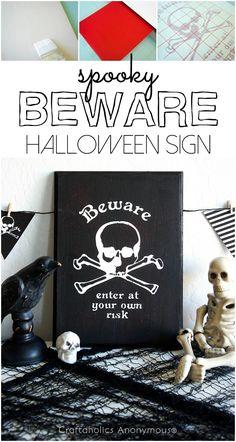 DIY Spooky BEWARE Halloween Sign #halloween #silhouette