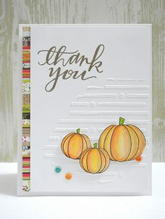 Autumn Thank You by Jingle for the Simon Says stamp Wednesday challenge (Create Your Own Background) Stamptember 2014