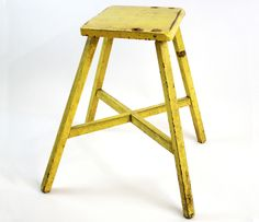Yellow Stool - would also be cute in rustic red or darker weathered green