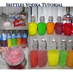 Skittles Vodka: One 1.75 liter bottle of vodka  Five 8.5 ounce flasks or bottles (buy them from Amazon – here's another that looks like a retro milk jug. For a Halloween party, serve these neon-colored concoctions in test tube shooter glasses.) One 1 pound bag of Skittles Five empty plastic water bottles A funnel Bowls for separating the Skittles into flavors A measuring cup (not pictured) Coffee filters or paper towels