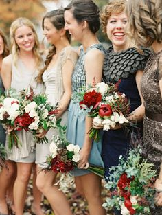Beautifully mismatched #bridesmaids Love the pop of cranberry with this color scheme