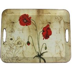 Decorative Tray with Floral Design, Poppy