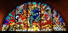 Stained Glass Fire Department Tribute at Fireman's Hall Museum, Philadelphia, PA  | Shared by LIOn