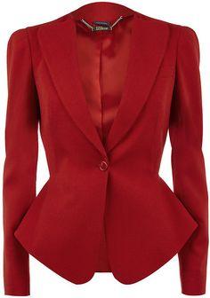 Alexander Mcqueen Red One Button Jacket