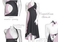Pretty Pushers Transition Gown // Transition Gown is three gowns in one as it can be worn as a maternity dress, labor and delivery gown and nursing dress. Made with super-soft cotton jersey spandex. There is a hidden frontal opening that provides access to fetal monitors, snaps for the epidural, and an open halter neck to allow for other IV's during labor and delivery.  The cross wrap styling allows for immediate skin to skin access after birth and for breastfeeding.