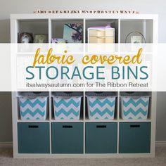 easy DIY fabric covered storage bins - Make craft room organization fun with ths DIY storage crafts.