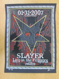 Original silkscreen concert poster for Slayer at The Fillmore Auditorium in Denver, CO in 2007. 19.25 x 26 inches. Signed and numbered as an AP out of only 66 by the artist Lindsey Kuhn.