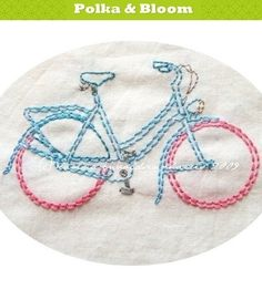 Embroidery Pattern Freewheelin' Bicycles PDF by polkaandbloom, $4.75
