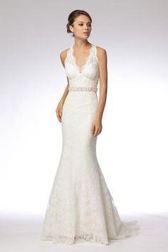 Modern v-neck empire waist lace wedding dress