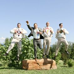 Superhero groomsmen jumping into action | Farrah's Photography and Event Services