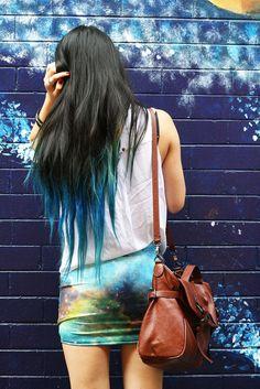 Blue tipped hair
