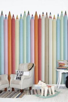 featur wall, pastels, creativ kid, wall murals, wallpapers, pen pals, kid room, pastel wall, pens