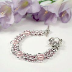 """Enigma"" bracelet, silver & pink aluminum"