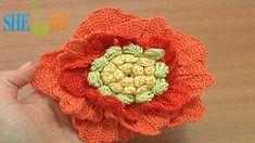 Big Crochet Flower Tutorial 62 Part 1 of 3 Crochet 3-Layered Center (+pl...