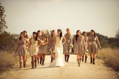 Dirt road photo! Love it! cowboy boots, country roads, bridesmaid dresses, country weddings, the dress, rustic weddings, dirt roads, texas wedding, vintage style