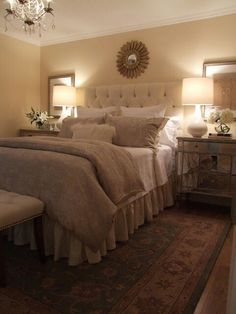 Master- Like the pretty headboard & pictures hanging behind the lamps on both sides of the bed over nightstands- I could do this in our bedroom with those shell pictures...