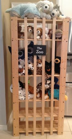 IKEA Hackers: Stuffed animal storage. Not something I need, but I think it's a great idea! anim storag, animals, the zoo, shelving units, stuf anim, ikea hacker, stuffed animal storage, zoos, kid