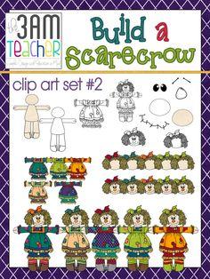 """Build a Scarecrow Clip Art Set #2 (Girl). """"$4"""""""