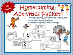 Homecoming Activities Packet for Pre-k-5 from Educator Helper on TeachersNotebook.com -  (50 pages)  - 50 pages of fun, engaging coloring, writing, and more activities for lower and upper elementary students to celebrate and reflect on Homecoming Day and its festivities.