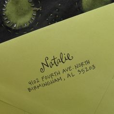 Self stamping for address.  Love the lettering!