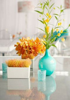 Beautiful Turquoise and Orange Table Accessories for Spring!