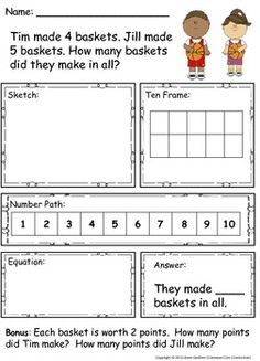"30 Addition and Subtraction ""Read-Along, Sketch and Solve"" Word Problems within Ten ~  For enrichment/extension, a bonus question is included with each problem.  ($3)"