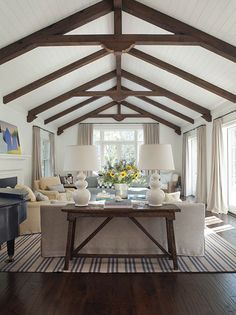 sofa tables, modern farmhouse, living rooms, exposed beams, family rooms, ceiling beams, farmhouse living, vaulted ceilings, wood beams