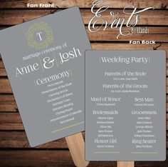 Wedding Fan Program with grey background olive by Eventsbyicandy, $2 ...