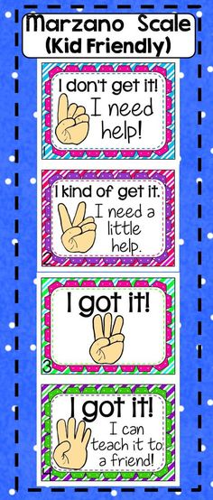 This Marzano Scale is perfect for the little ones! It's cute, and simple to understand. Posters and bookmarks are included. Matches my hand signals clipart :). Just print, laminate, and post. Your administrators will love that you have a Marzano Scale posted in your classroom!    Soon to come in Spanish!  Created by Alma Almazan