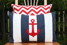 Nautical Nursery colors:  Navy, Red, and White - Modern Anchor Lumbar Pillow Cover  Navy and White by nest2impress,